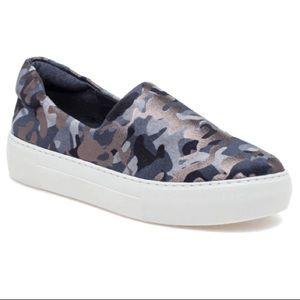 J/SLIDES Ariana Gray Metallic Camo Slip On Sneaker